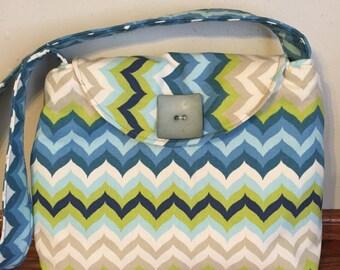 Small Handbag for Woman, Woman Handbag, Shoulder Bag for Woman, Small Tote Bag, Woman  Purse, Chevron Bag, Blue Handbag