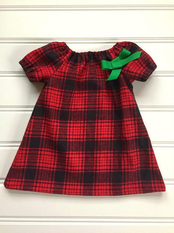 b208e176bb0e0 Red Plaid Dress for Girl, Baby Christmas Dress, Toddler Christmas Dress,  Black and Red Dress, Holiday Dress, Flannel Dress, Newborn, Infant