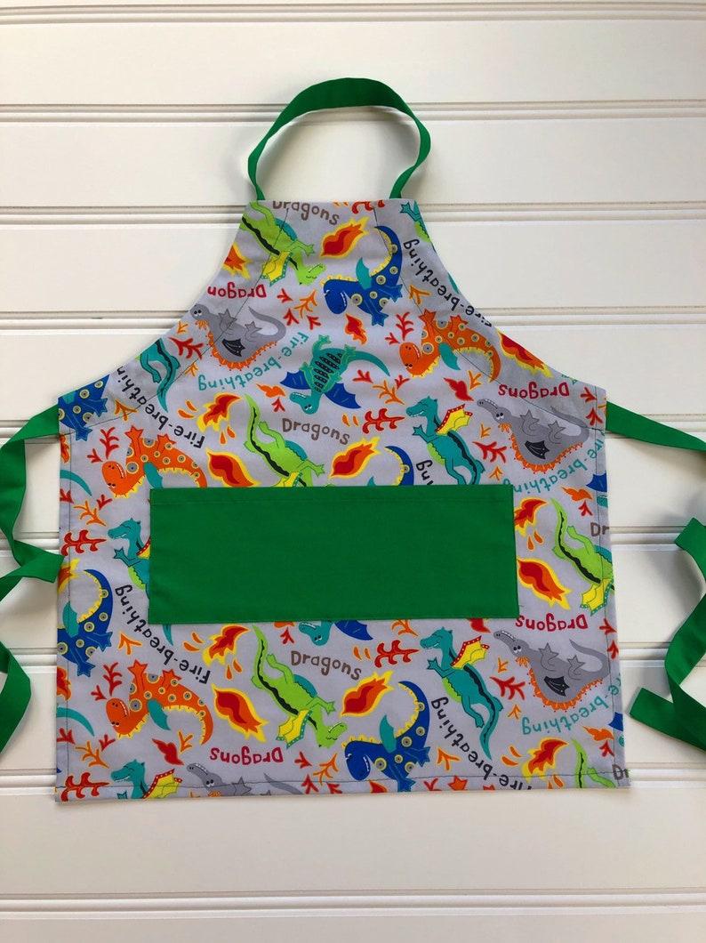 Kid Apron with Pocket Kid Cooking Apron Toddler Apron Girl Apron Boy Apron Kid Smock Apron Child Apron Kid Art Smock Dragon Apron