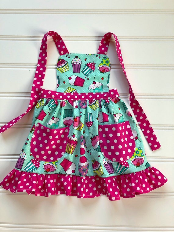 Apron for Kids, Child Apron, Kids Cooking Apron, Toddler Apron, Little Girl  Apron, Kitchen Apron, Baking Apron, Cupcake Apron, Aqua Apron
