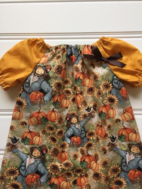 eb2758c86 Mustard Yellow Pumpkin Dress for Girl Toddler Fall Dress
