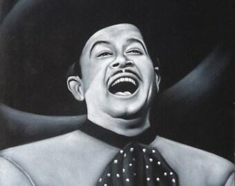 Pedro infante mexican actor & singer legend  black velvet oil painting handpainted signed art