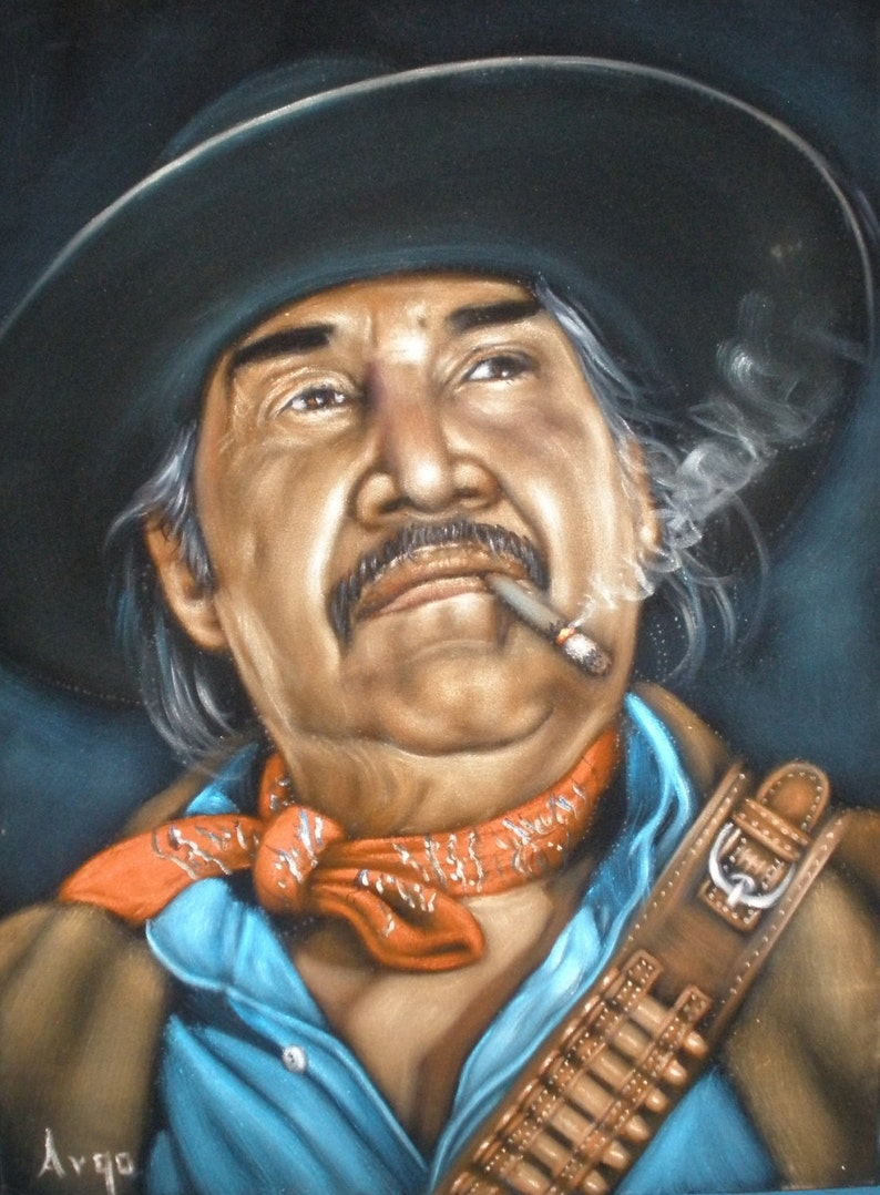 e3cbc646bf526 Bandit bandito bandido badass cowboy black velvet oil painting