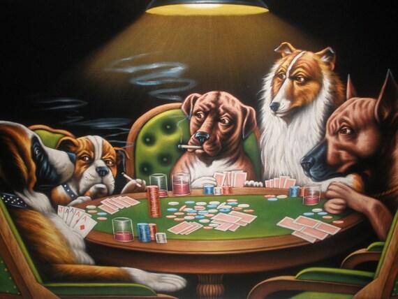 Perros Jugando Velvet De Poker Negro Pintado A Mano De Pintura Etsy