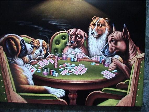 Gran Tamano Perros Jugando Poker Terciopelo Negro Original Etsy