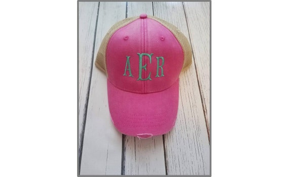 7e1ff2bc01dec Hot Pink Distressed Trucker Hat with Personalized Monogram