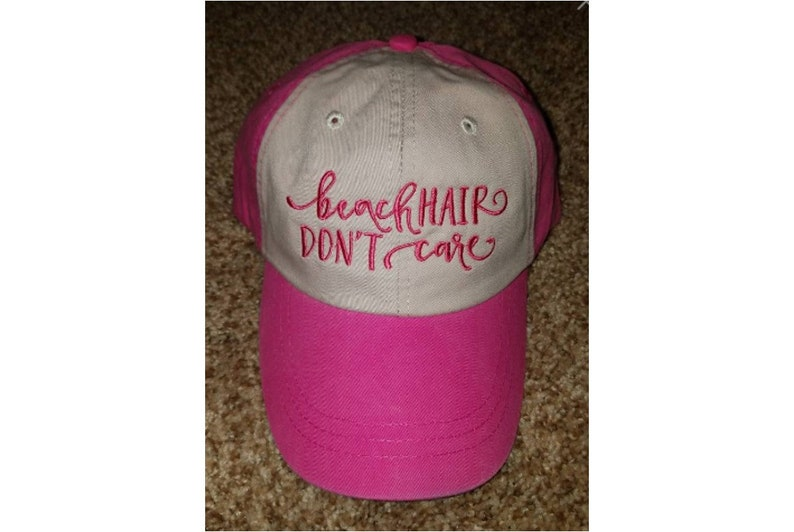 Embroidered Pink Beach Hair Don't Care Two-Tone Baseball Cap