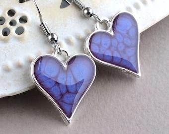 Purple Earrings, Purple Heart Earrings, Resin Earrings, Silver Heart Earrings, Purple Jewellery, Purple Wedding, Heart Gift, Stainless Steel
