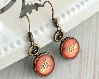 Orange Earrings. Small Drop Earrings. Watch Part Earrings. Bronze Earrings. Clock Earrings. Orange Drop Earrings. Pocket Watch Earrings