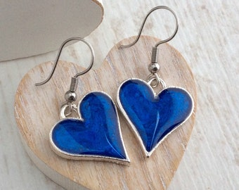 Blue Heart Earrings, Heart Drop Earrings, Large Silver Heart, Bright Blue, Mothers Day, Resin Earrings, Bridesmaid Gift, Royal Blue, UK, Big