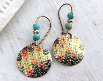 Turquoise Bronze Earrings, Latchback, Ethnic Earrings, Blue and Gold, Bronze Kidney Wires, Vintage Drop, Light Earrings, Colourful Disc Drop