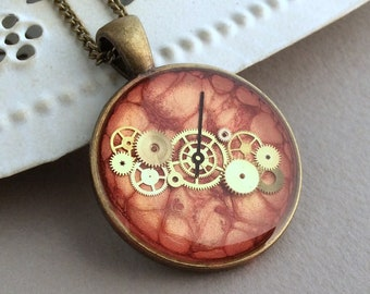 Long Orange Necklace, Cogs and gears, Clockwork necklace, Upcycled jewellery, Watch Parts, Red Pendant, Steampunk Pendant, Burnt Orange, UK