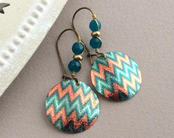 Bright Blue Earrings, Latchback, Ethnic Earrings, Blue and Orange, Bronze Kidney Wires, ZigZag, Light Earrings, Electric Blue Disc Drop