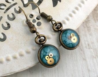 Bronze Dangle Earrings, Blue Drops, Blue Earrings, Watch Parts, Clock Earrings, Watch Earrings, Pocket Watch Earrings, Steampunk Earrings