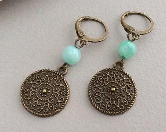 Bronze Disc Earrings, Boho Leverback Earrings, Bohemian Jewellery, Green Drop Earrings, Bronze Flower, Ethnic Earrings, Mandala, UK