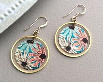 Gold Flower Earrings, Light Circle Earrings, Lightweight, 14K Gold Filled, Hypoallergenic, Geometric, Colourful, Summer, Floral UK