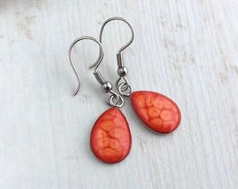 Bright Orange Earrings, Teardrop Earrings, Sterling Silver Earrings, Small Drop Earrings, Tangerine, Orange Wedding, Bridesmaid Gift, Resin