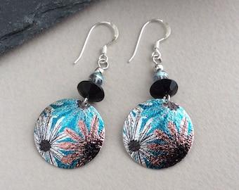 Silver Flower Earrings, Black Bead Earrings, Round Disc Earrings, Light Earrings, Sterling Silver, Floral, Nature, Daisy, Boho Earrings
