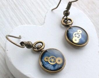 Small Blue Earrings, Blue Drop, Blue Earrings, Pocket Watch Earrings, Cute Earrings, Small Steampunk Earrings, Bronze, Unusual Earrings