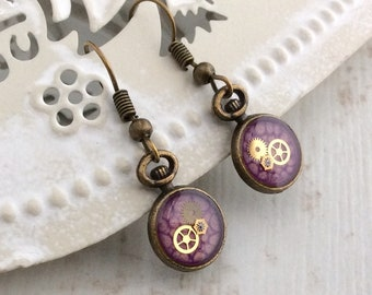 Pocket Watch Earrings, Small Purple Drop Earrings, Watch Part Earrings, Bronze Earrings, Clock Earrings, Steampunk Earrings, Purple Earrings