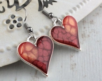 Red Heart Earrings, Heart Drop Earrings, Lava Earrings, Red Jewellery, Bridesmaid Gift, Red Ombre, Lava Jewellery, Silver Heart Earrings