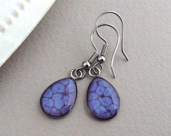 Purple Earrings, Teardrop Earrings, Sterling Silver Earrings, Summer Earrings, Purple Wedding, Bridesmaid Gift, Shimmer, Purple Drop