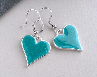 Blue Heart Earrings, Heart Drop Earrings, Silver Heart, Teal Earrings, Teal Jewellery, Resin Earrings, Bridesmaid Gift, Bright Blue Earrings