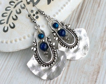 Tribal Earrings, Silver Drop Earrings, Dark Blue Bead Earrings, Ethnic Earrings, Boho Earrings UK, Long Drop, Large Earring, Sterling Silver