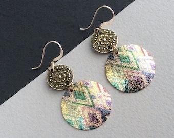Ethnic Earrings, Boho Earrings, Colourful, Bronze, Gold Filled, Lightweight, Bohemian, Mandala, Aztec, Tribal, UK, Festival, Hypoallergenic