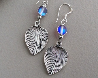 Silver Leaf Earrings, Small Leaf Drop, Nature Lover, Inspired by Nature, In the UK, Simple Earrings, Plants, Leaves, Purple Bead, Shiny