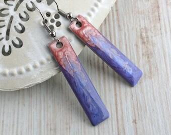 Pink Purple Earrings, Bar Earrings, Ombre Earrings, Long Drop Earrings, Rectangle Earrings, Sterling Silver, Resin, Casual Earrings