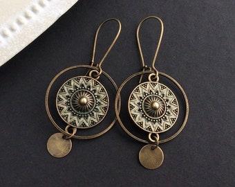 Bronze Boho Earrings, Circle Earrings, Kidney Wires, Vintage Drop Earrings, Bohemian Disc Earrings, Festival, Ethnic Jewellery, Hoops, UK