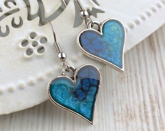 Blue Heart Earrings, Heart Drop Earrings, Silver Heart Earrings, Blue Earrings, Blue Jewellery, Resin Earrings, Bridesmaid Gift, Blue Ombre