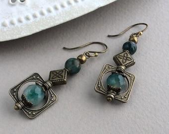 Short Boho Earrings, Bronze Earrings, Bohemian Jewellery, Green Bead, Geometric, Long Drop, Tribal Earrings, Ethnic Earrings, Antique Style