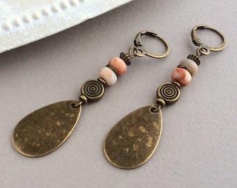 Bohemian Earrings, Leverback, Antique Bronze, Teardrop Earrings, Ethnic, Tribal, Boho Jewellery, Pastel Bead, Peach, Orange, Cream, Natural