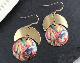Bright Earrings, Boho Earrings UK, Brass Crescent Moon, Gold Disc, Multicolour, Abstract Art, Coin Earrings, Colourful, Light Earrings