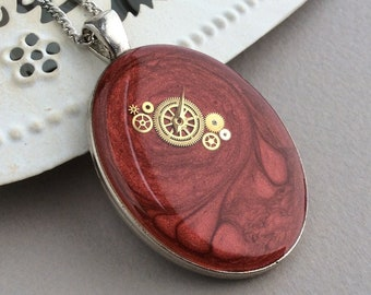 Oval Pendant, Long Necklace, Large Pendant, Red Necklace with Pendant, Steampunk Necklace, Medallion Necklace, Sweater Necklace, Watch Part