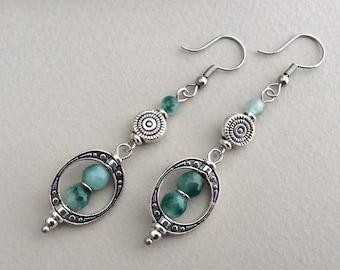 Green Boho Earrings, Silver Bohemian Earrings, Geometric Dangle Earrings, Festival Earrings, Ethnic Ornate Drops, Natural Green Stones, UK