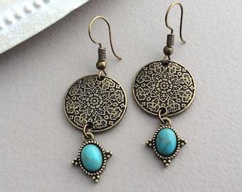 Bronze Disc Earrings, Boho Earrings, Bohemian Jewellery, Turquoise Drop Earrings, Bronze Flower, Ethnic Earrings, Mandala, Tribal, UK