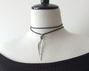 Silver Feather Necklace, Multiway Necklace, Cord Necklace, Boho Necklace, Festival Necklace, Tie up, Wrap Choker, Wrap Around, Long Choker