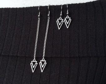 Arrow Earrings, Simple Long Earrings, Chain Earrings, Light Earrings, Chevron Earrings, Elegant Earrings, Geometric Jewellery, Asymmetric