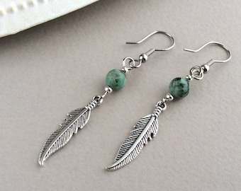 Feather Earrings, African Turquoise, Native American, Silver Feather Earrings, Boho Earrings, Simple Dangles, Hippy, Festival, Wing, Angel