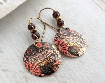 Garnet Earrings, Latchback, Ethnic Earrings, Dark Red and Gold, Bronze Kidney Wires, Vintage Drop, Light Earrings, Colourful Disc Drop