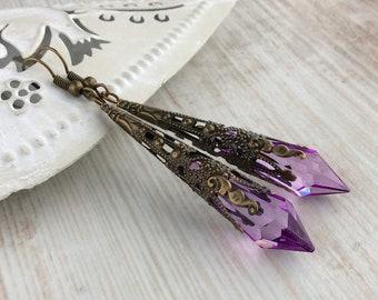 Filigree Earrings, Bronze Earrings, Renaissance Earrings, Downton Abbey Jewellery, Elegant Victorian Jewellery, Art Deco Earrings, Lilac