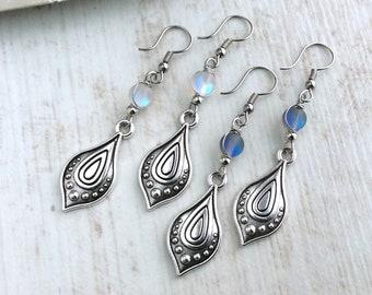 Teardrop Earrings, Moonstone Style Earrings, Silver Dangle Earrings, Tribal, Silver Drop Earrings, Long Boho Earrings, Bead Jewellery, Petal