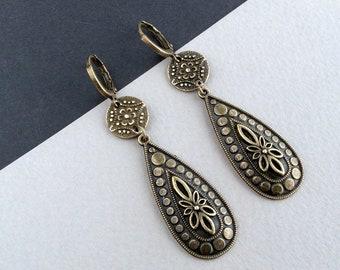 Boho Teardrop Earrings, Simple Earrings, Leverback Earrings, Antique Bronze Earrings, Elegant Earrings, Charm Earrings, Bohemian, UK
