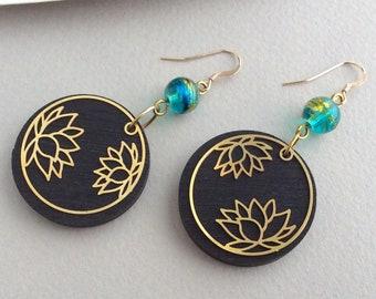 Lotus Earrings, Gold Earrings, Blue Earrings, Blue Bead, Wood Earrings, Light, Oriental, Black, Round, Yoga, Hypoallergenic, Unusual