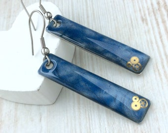 Blue Steampunk Earrings, Blue Earrings, Bar Earrings, Long Earrings, Resin Earrings, Sterling Silver, Simple Drop, Unusual