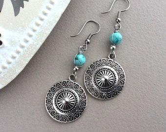 Turquoise Boho Earrings, Silver Disc Earrings, Bohemian, Gypsy, Beaded Earrings, Ethnic, Hippy, Everyday Earrings, Shield, Hypoallergenic