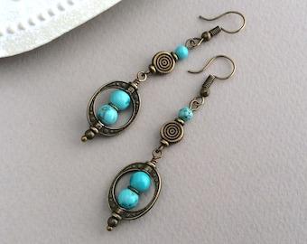 Bohemian Jewellery, Boho Earrings, Bronze Earrings, Long Earrings, Turquoise, Geometric, Long Drop, Tribal Earrings, Ethnic Earrings, Bead